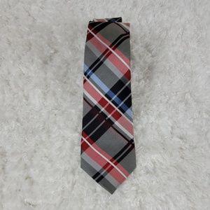 Ben Sherman Red Black Plaid Silk Tie (N3)
